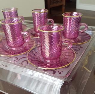 12 pcs Arabic style pink tea set - $70