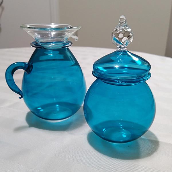 Blue sugar and creamer - $15