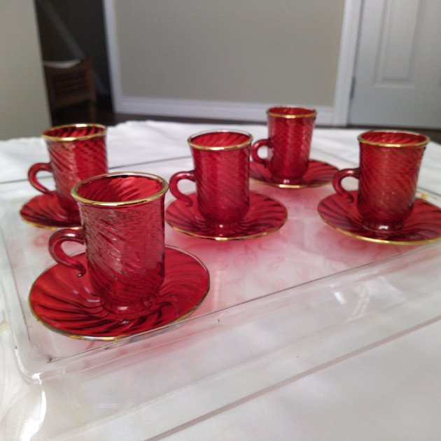 12 pcs Arabic style red tea set - $70