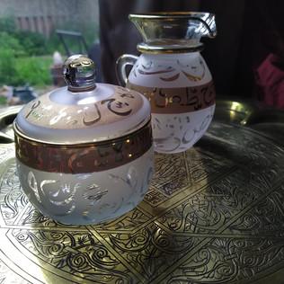 White Arabic Calligraphy Sugar & Creamer - $30