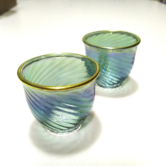 6 pcs Turquoise tinted blown coffee glass set. - $18