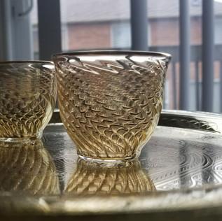 6 pcs Yellow tinted blown glass coffee set - $18