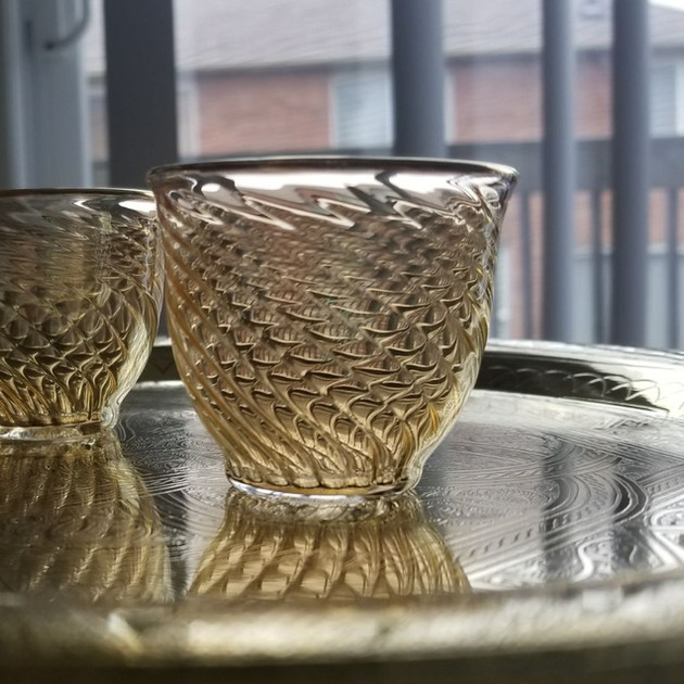 6 pcs Yellow tinted blown glass coffee set - $18