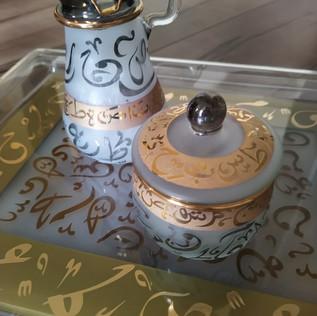 Black Arabic Calligraphy Sugar & Creamer - $30