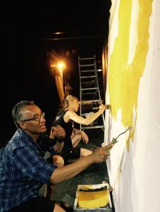 Co-producers Tashi Nangsetsang and Andrea Battersby prepping at McWood Studios