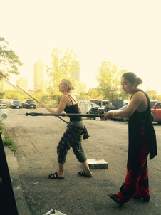 Lindsay McDonald and Sonam Chokey prepping at McWood Studios