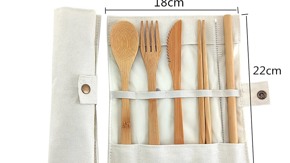 Bamboo Travel Cutlery Set Eco Friendly Flatware, Knife, Fork, Spoon and Straw