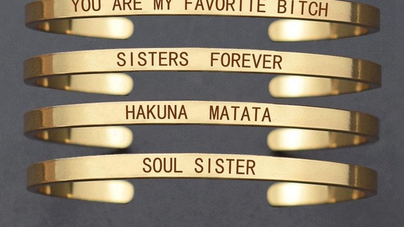 Engraved Bangle Best Friends Fashion Charm Soul Sister Bridesmaid Bracelet
