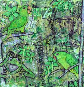 green.(Parakeets)
