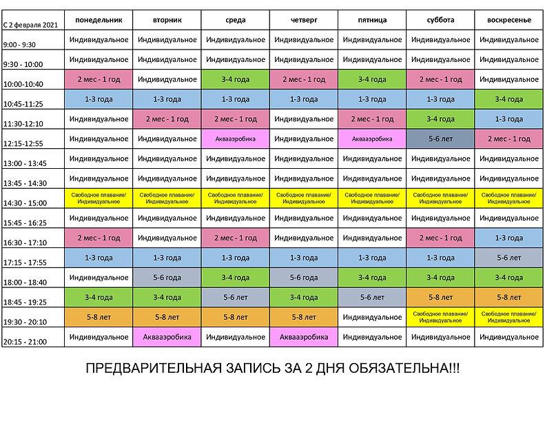 Расписание грудничковго плавания, деткий бассейн Кайра Клаб Бутово, аквааэробика