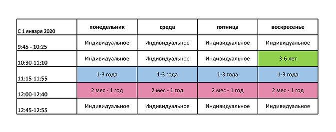 Расписание грудничковое плавание Кайра Клаб Каланчевка 2020