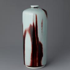 White Porcelain Elongated Bottle in Underglaze Copper-Red