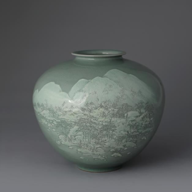 Celadon Jar with Snowy Scenery Design