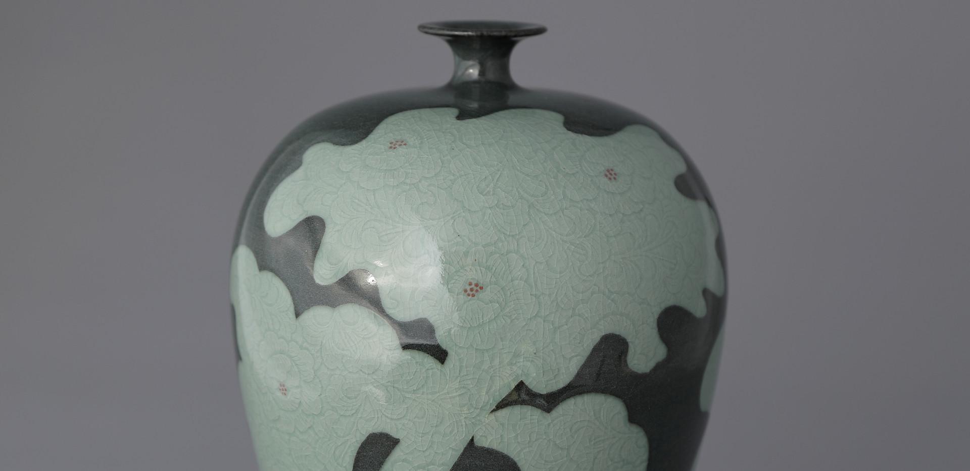 Celadon Sgraffito Bottle with Peony Decoration, 2000