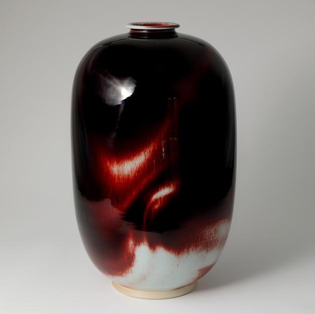 White Porcelain Elongated Jar in Underglaze Copper- Red 백자진사요변 장병 by Han Dohyun