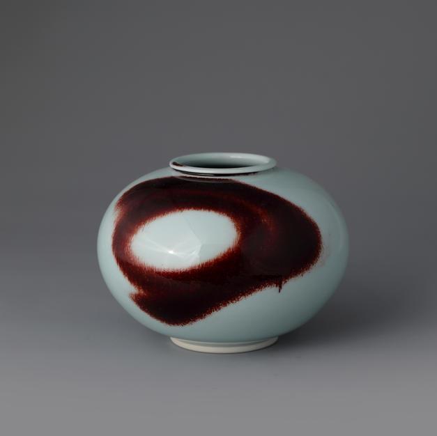 White Porcelain Jar in Underglaze Copper-Red
