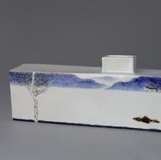 White Porcelain Vase with Cobalt Landscape Decoration