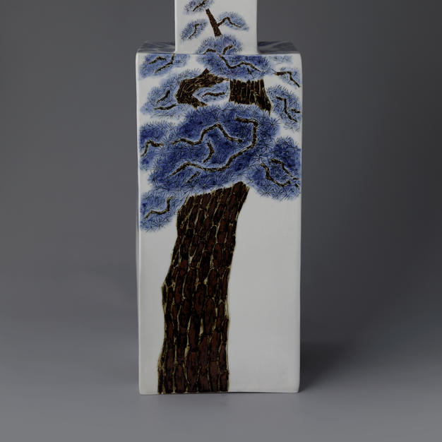 White Porcelain Bottle with Tree Decoration