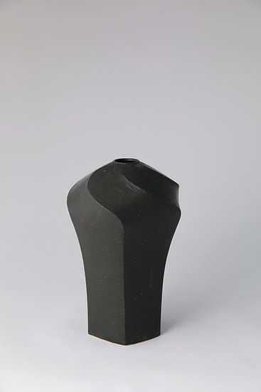 """""""Line 2"""" Faceted Vase with Black Glazing"""