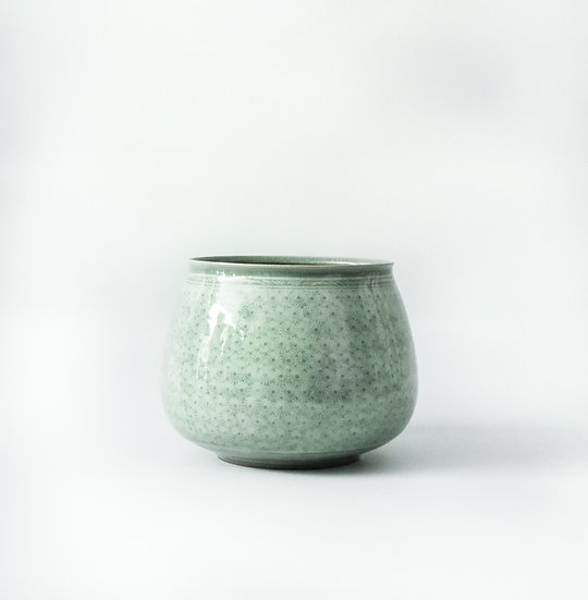 Buncheong Stamped Deco Jar