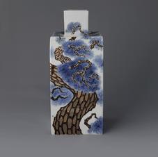 White Porcelain Bottle with Tree Decoration