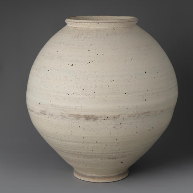 White Slip-brushed Buncheong Moon Jar