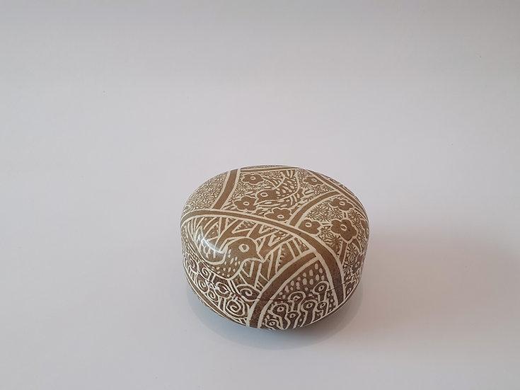 Buncheong Lidded Pot with Bird Decoration