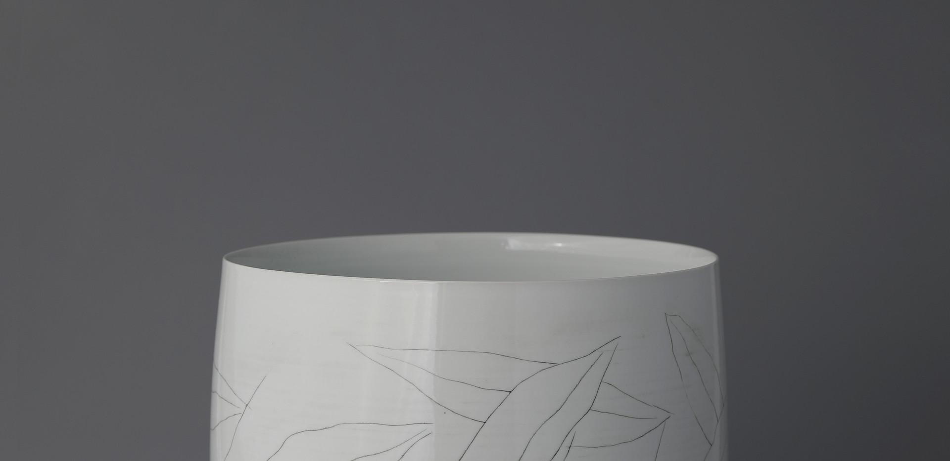 Large White Porcelain Vase with Inlaid Leaves Decoration, 2020
