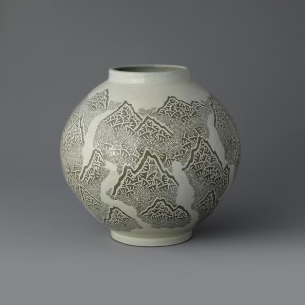Buncheong Jar with Mountain Design