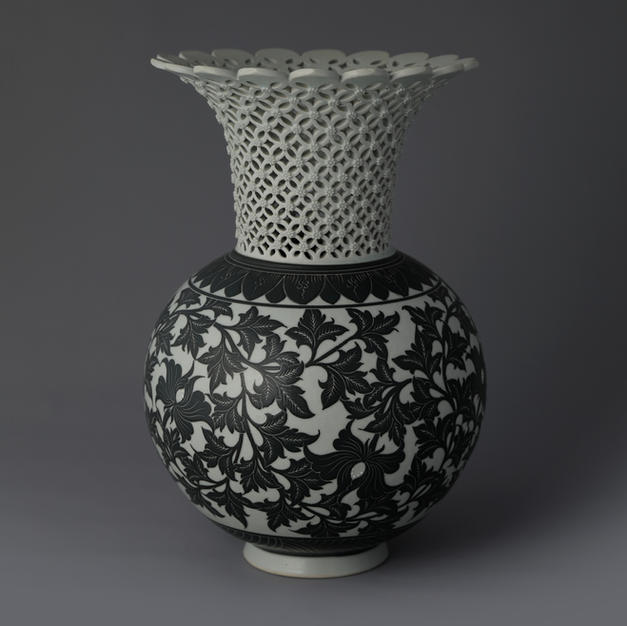 White Porcelain Vase with Black Persimmon and Peony Decoration