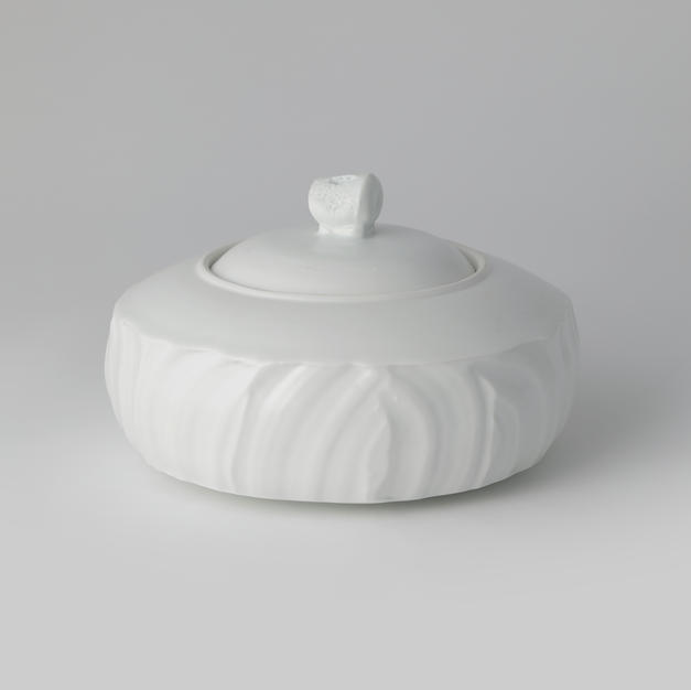White Porcelain Box 백자파동문 합 by Kim Heejung