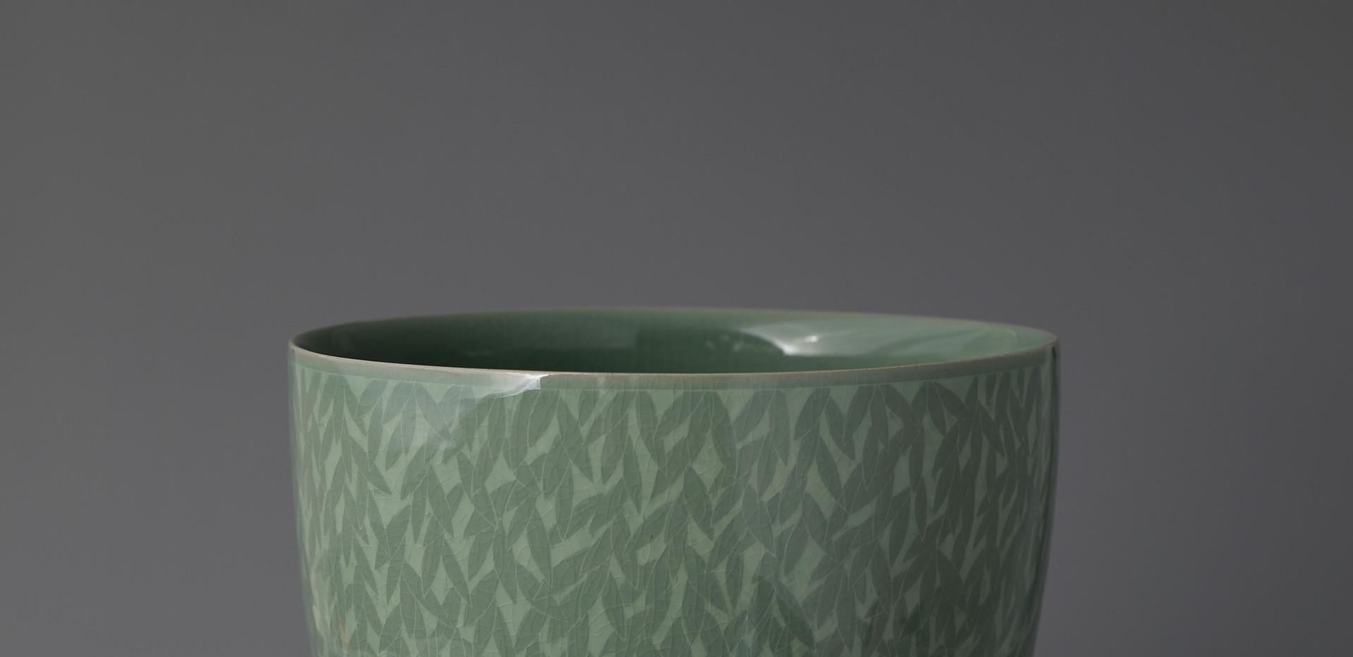 Large Celadon Vase with Inlaid Leaf Design, 2020