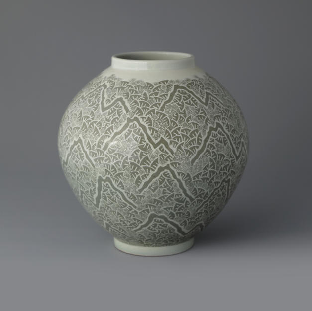 Buncheong Jar with Mountain Design