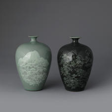 A Pair of Celadon Vases with Snowy Night Scene Decoration