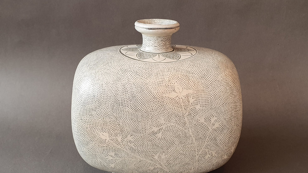 Flattened Buncheong Pot with Stamped Deco