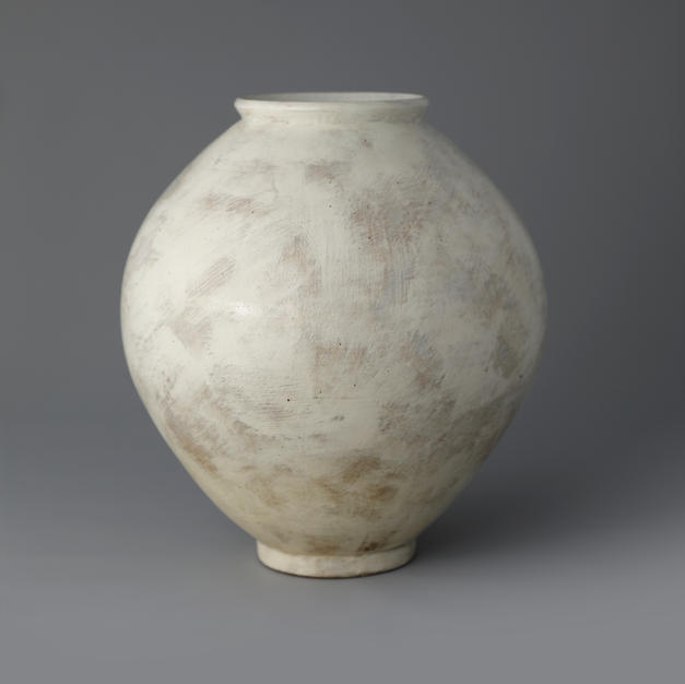 Buncheong Moon Jar with White Slip Decoration