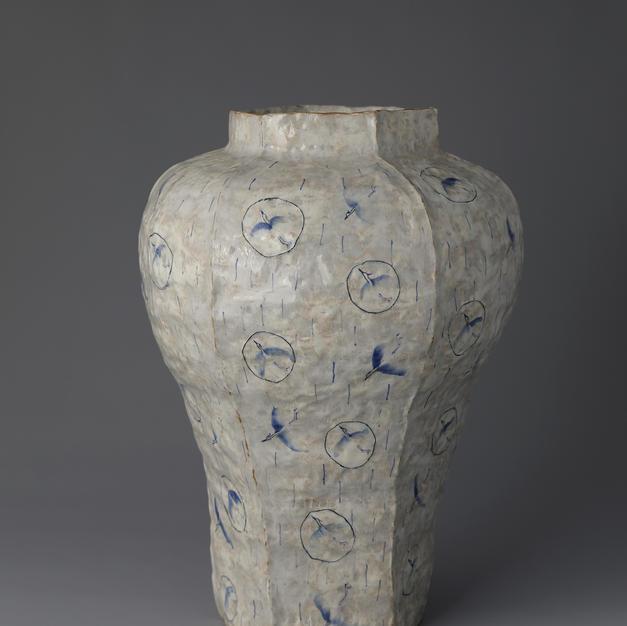 Buncheong Jar with Crane Decoration