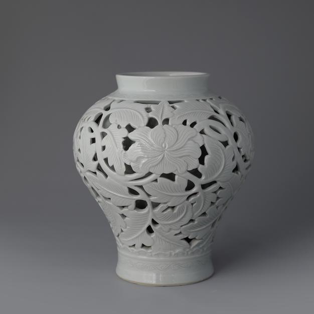 White Porcelain Vase with Open-work