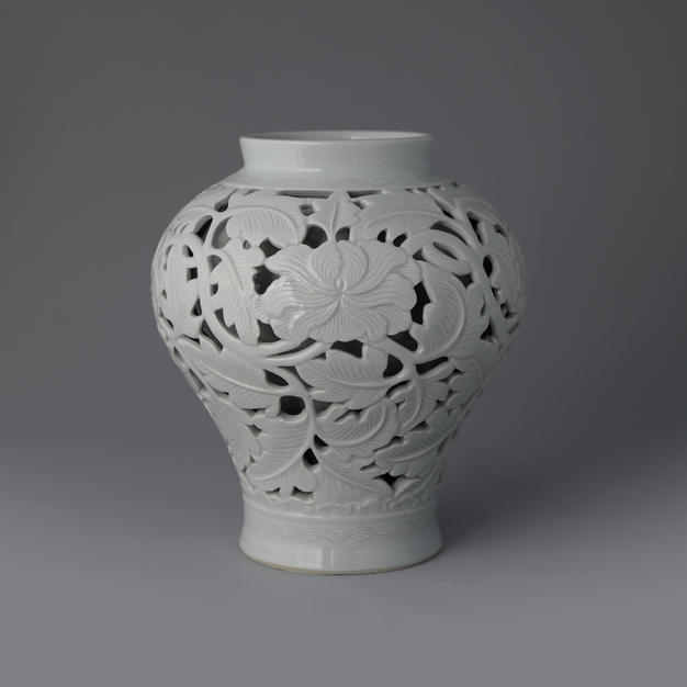 White Porcelain Vase with Open-work