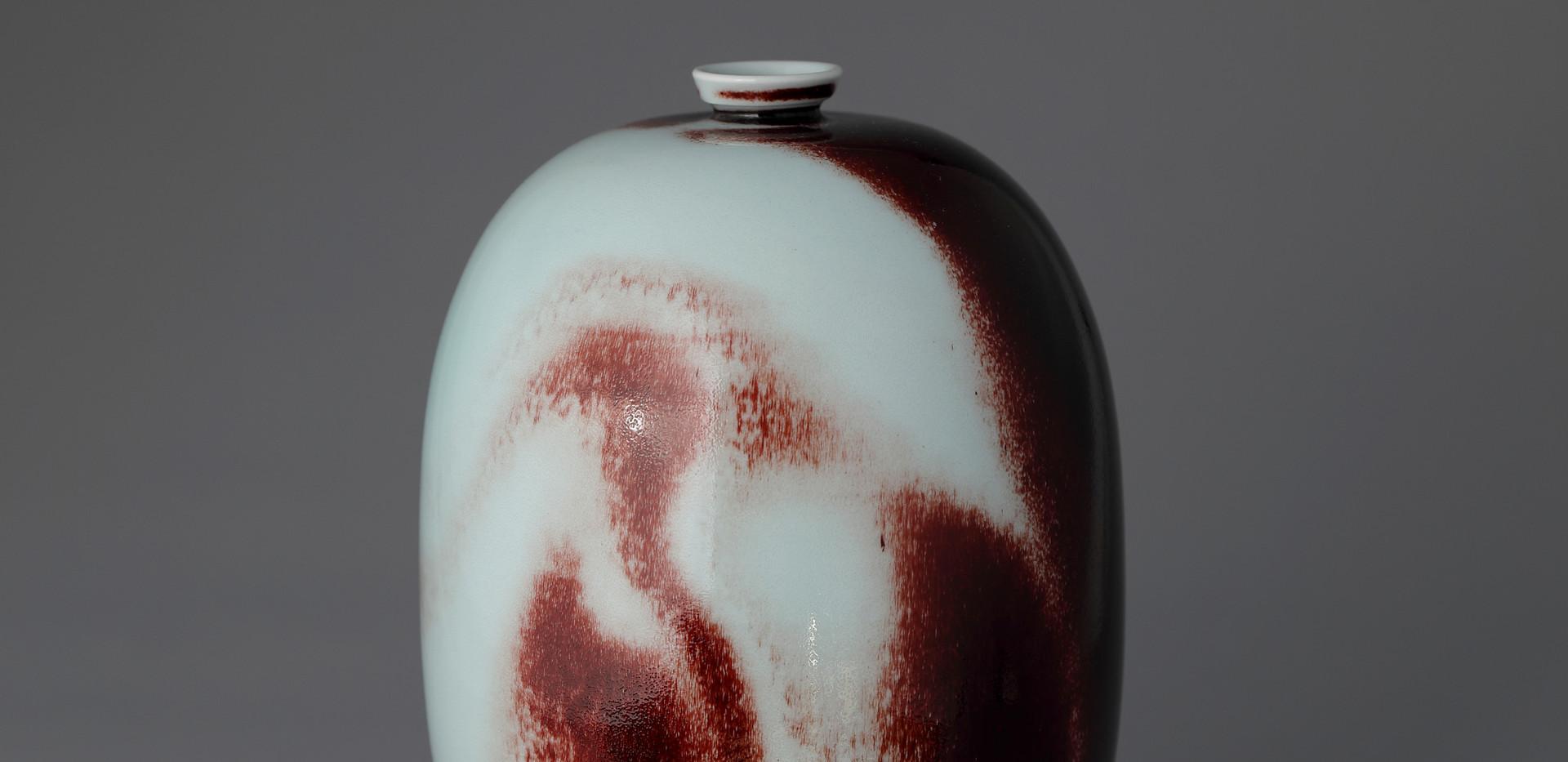 White Porcelain Elongated bottle in Underglaze Copper-Red, 2020
