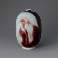 White Porcelain Vase in Underglaze Copper-Red