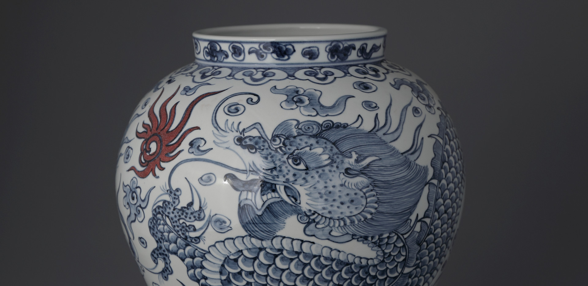 White and Blue Porcelain Vase with Dragon Decoration, 2018