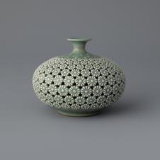 Celadon Jar with Double Open-work, Maple Tree Design