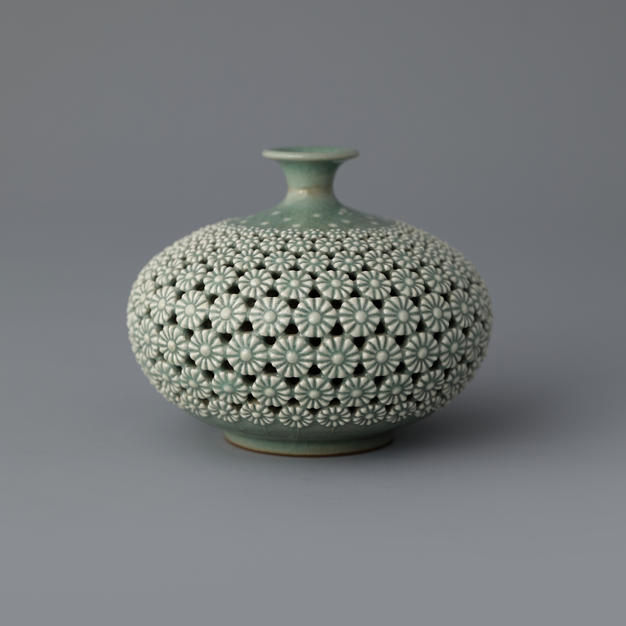Celadon Jar with Double Open-work, Maple Tree Design