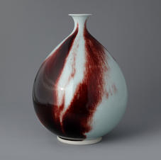 White Porcelain Bottle in Underglaze Copper-Red