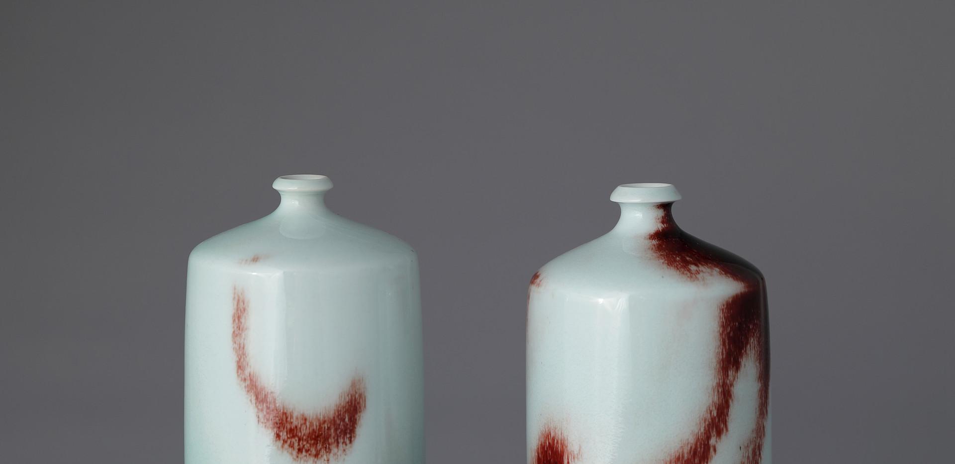 White Porcelain Elongated Bottles in Underglaze Copper-Red, 2020