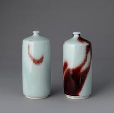 White Porcelain Bottles in Underglaze Copper-Red