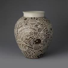 Buncheong Round-shaped Pot