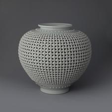 Double Open-work Porcelain Vase with Floral Decoration