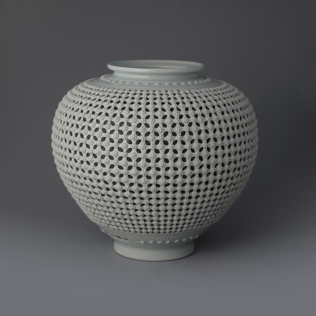 Double Open-work Porcelain Vase with Floral Decoration